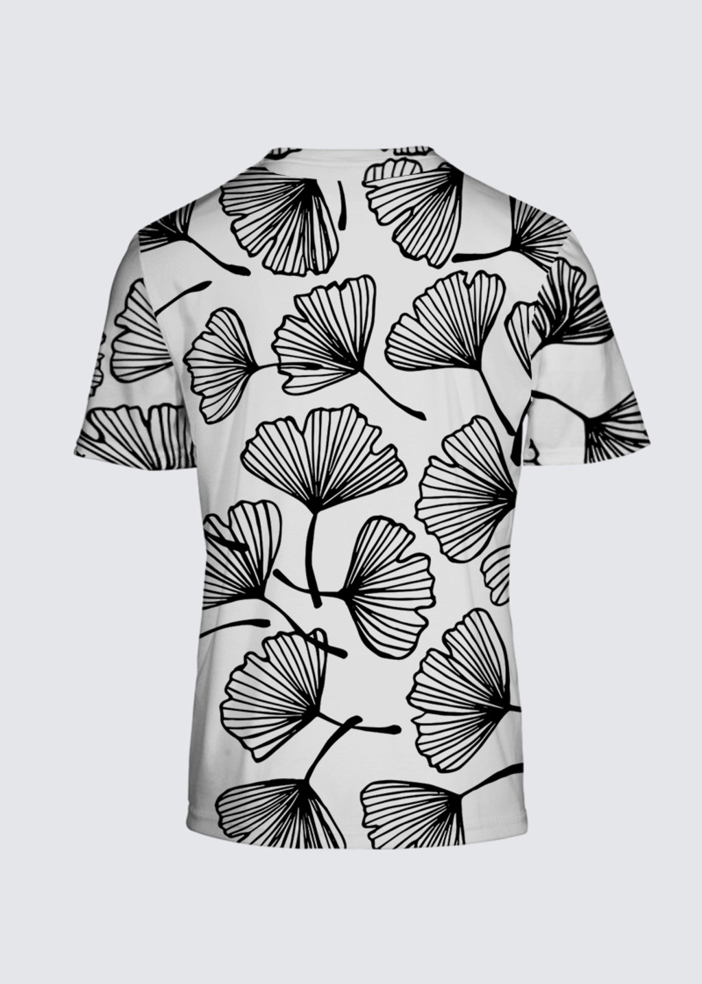 Picture of Ginko leaves silhouette Ginkgo Floral Japanese outline black and white ornament. Salvador Tee