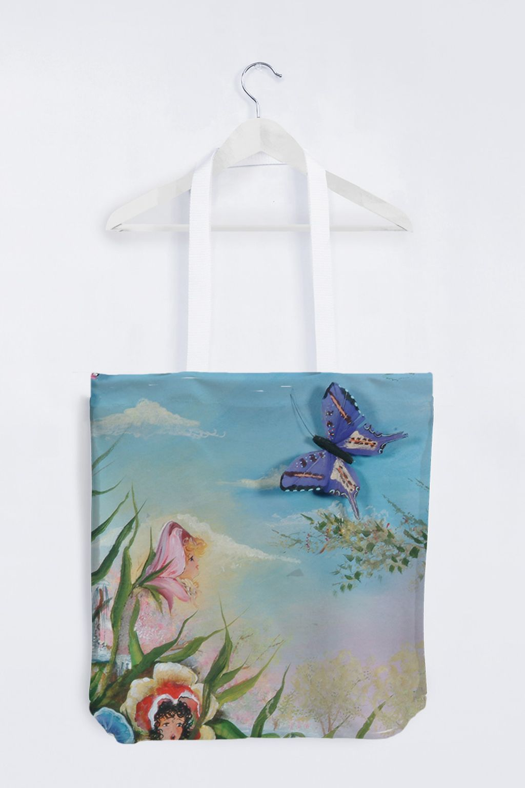 Picture of Butterfly Totebag, white handles