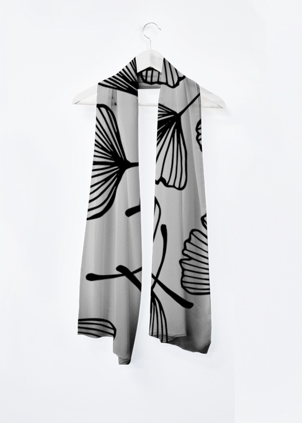 Picture of Ginko leaves silhouette Ginkgo Floral Japanese outline black and white ornament. Vivienne Scarf