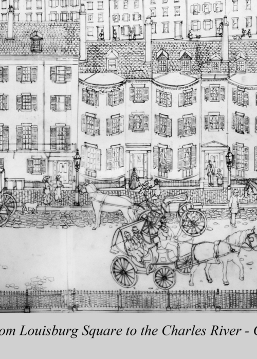 Picture of Beacon Hill, Boston, 1840, pen&ink