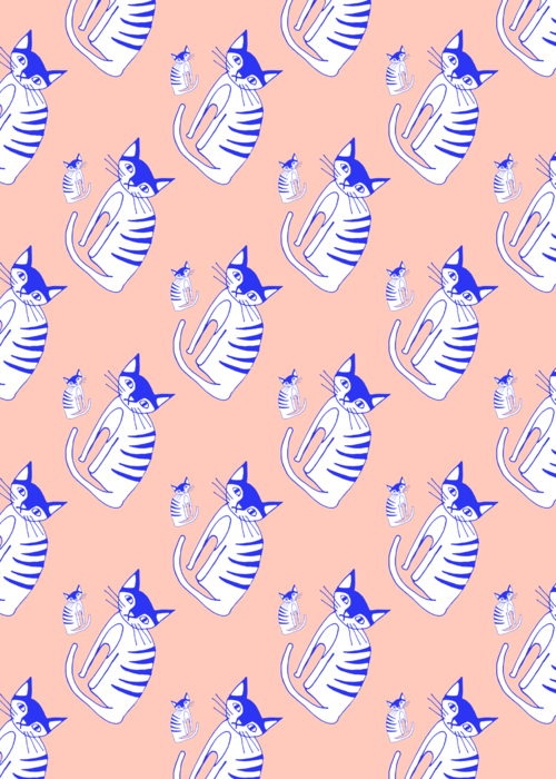 Picture of Cat blue pattern