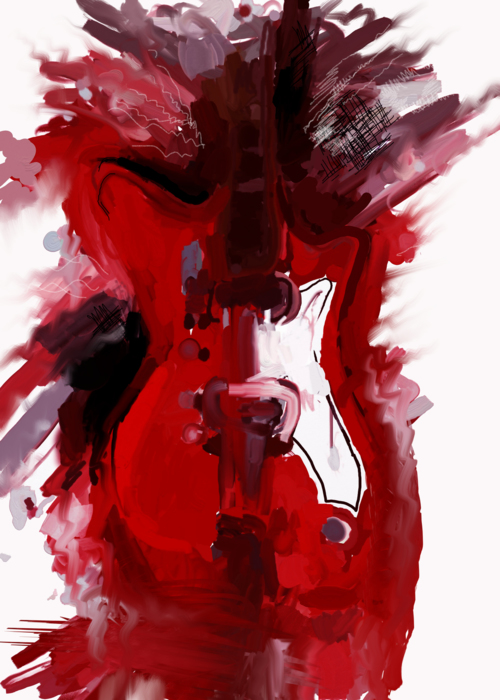 Picture of ABSTRACT RED GUITAR PAINTING