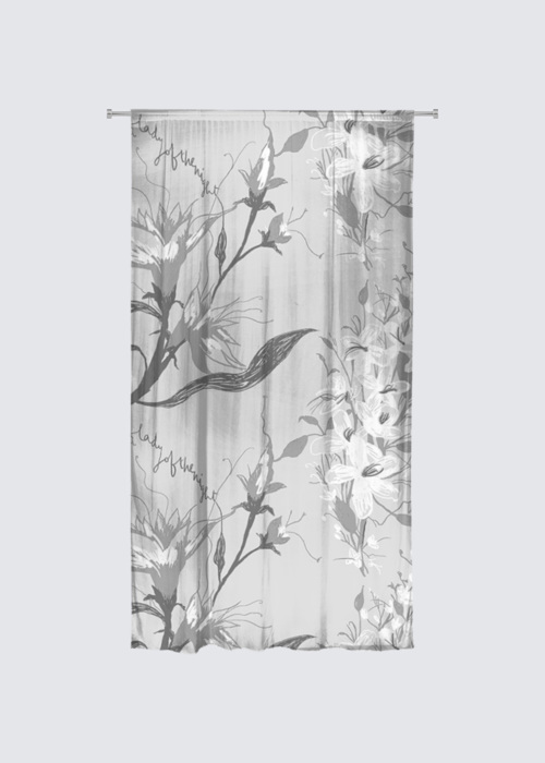 Picture of Lady of the Night Greyscale Rideau Flora in Knit Chiffon