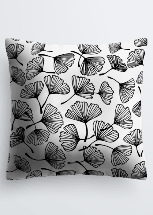 Picture of Ginko leaves silhouette Ginkgo Floral Japanese outline black and white ornament. Pablo Pillow