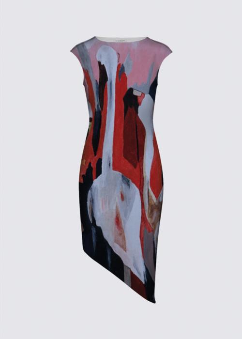 Picture of Flamingos in kenya Felicia Asymmetric Dress