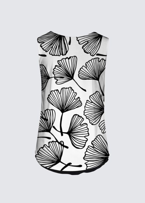 Picture of Ginko leaves silhouette Ginkgo Floral Japanese outline black and white ornament. Brigitte Tank