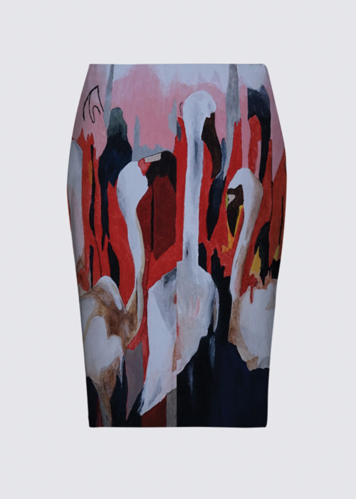 Picture of Flamingos in kenya Aicha Skirt